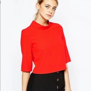 ASOS red funnel neck blouse